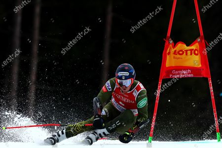 Ted Ligety of The USA races down the course during the Audi FIS Alpine Ski World Cup Giant Slalom race on in Garmisch-Partenkirchen, Germany
