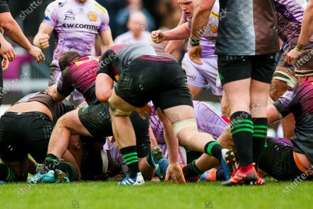 Tom Price of Exeter Chiefs scores his sides 2nd try