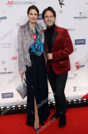 Falk Willy Wild (R) and Katrin Wrobel (L) arrive for the B.Z. Culture Award ceremony in Berlin, Germany, 28 January 2020. Since 1991, the Berlin tabloid newspaper B.Z. awards this annual prize to personalities that contributed to excellence for cultural and artistic diversity in the German capital.