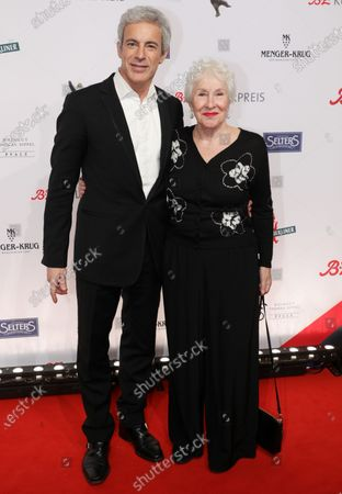 Gedeon Burkhard (L) and his mother Elisabeth von Molo (R) arrive for the B.Z. Culture Award ceremony in Berlin, Germany, 28 January 2020. Since 1991, the Berlin tabloid newspaper B.Z. awards this annual prize to personalities that contributed to excellence for cultural and artistic diversity in the German capital.