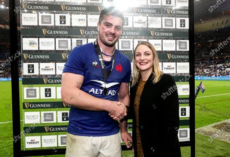 France vs England. France's Grégory Alldritt is presented with the man of the watch award by Kate Moore of Diageo