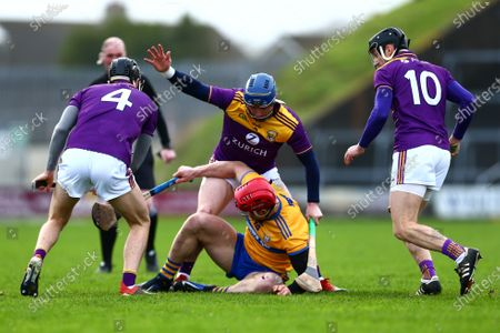 Wexford vs Clare. Clare's John Conlon with Wexford's Joe O'Connor, Kevin Foley and Liam Og McGovern