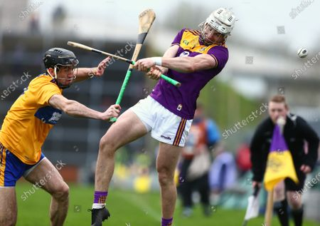 Wexford vs Clare. Wexford's Rory O'Connor with Clare's Stephen O'Halloran.