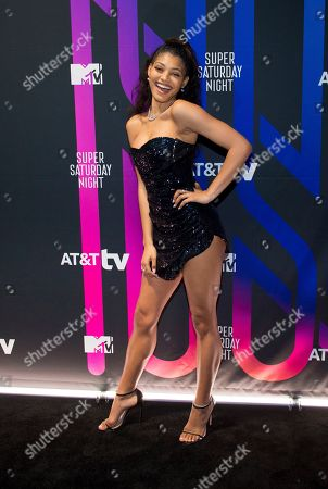 Stock Photo of Danielle Herrington attends the AT&T TV Super Saturday Night at Meridian on Island Gardens in Miami, in Miami, Fla