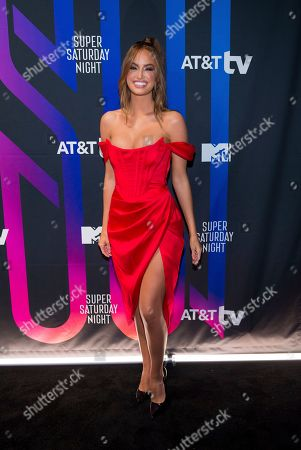 Haley Kalil attends the AT&T TV Super Saturday Night at Meridian on Island Gardens in Miami, in Miami, Fla