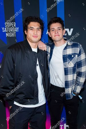 Charles Melton, Casey Cott. Charles Melton, left, and Caset Cott attend the AT&T TV Super Saturday Night at Meridian on Island Gardens in Miami, in Miami, Fla