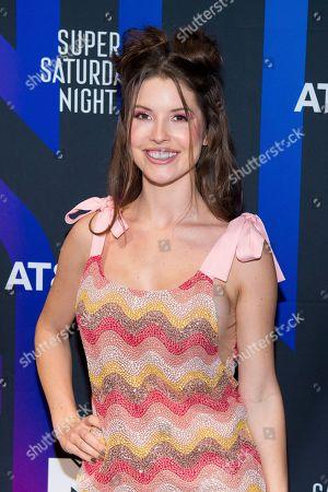 Amanda Cerny attends the AT&T TV Super Saturday Night at Meridian on Island Gardens in Miami, in Miami, Fla
