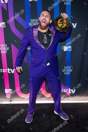 Mojo Rawley attends the AT&T TV Super Saturday Night at Meridian on Island Gardens in Miami, in Miami, Fla
