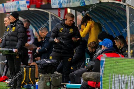 Celtic Coach Damien Duff gives instructions to Substitute Ryan Christie as he prepares to get involved in the Ladbrokes Scottish Premiership match between Hamilton Academical FC and Celtic at The Fountain of Youth Stadium, Hamilton