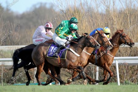 Stock Photo of Black Tears ridden by Davy Russell, Our Roxane ridden by Kevin Brouder, Concertista ridden by Danny Mullins and Spruced up ridden by Aine O'Connor in Irish Stallion Farms EBF Paddy Mullins Mares Handicap Hurdle (Grade B)