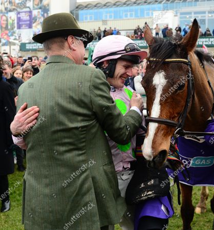 Leopardstown. Faugheen and Paul Townend with owner Rich Ricci in the winners enclosure.