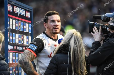 Sonny Bill Williams of Toronto Wolfpack speaks with the press after the Betfred Super League match between Toronto Wolfpack and Castleford Tigers at Emerald Headingley Stadium, Leeds