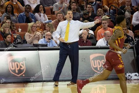 Stock Photo of Iowa State head coach Steve Prohm directs his team during the first half of an NCAA college basketball game against Texas, in Austin, Texas. Texas won 72-68