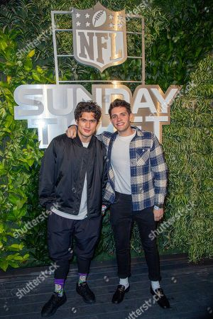 Charles Melton, Casey Cott. Charles Melton and Casey Cott attend the DIRECTV + NFL SUNDAY TICKET at The Bungalow party, in Miami