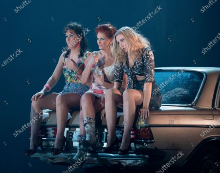 Stock Picture of Ellie Laugharne as Frasquita, Justina Gringyte as Carmen, Samantha Price as Mercedes