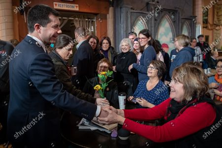 Former Mayor of South Bend, Indiana Pete Buttigieg greets voters after appearing on 'AM Joy' on MSNBC with Joy Reid as he campaigns to be the 2020 Democratic presidential nominee at Java Joe's Coffeehouse in Des Moines, Iowa, USA, 02 February 2020. The first-in-the-nation Iowa caucuses are on 03 February 2020.