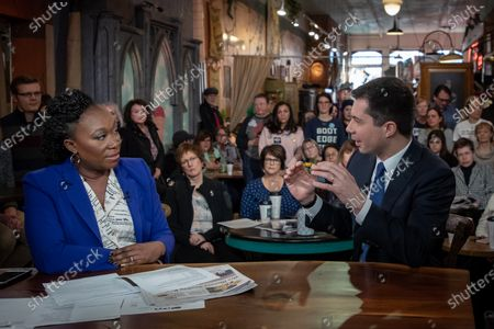Former Mayor of South Bend, Indiana Pete Buttigieg appears on 'AM Joy' on MSNBC with Joy Reid as he campaigns to be the 2020 Democratic presidential nominee at Java Joe's Coffeehouse in Des Moines, Iowa, USA, 02 February 2020. The first-in-the-nation Iowa caucuses are on 03 February 2020.