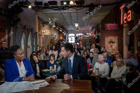 Editorial image of Pete Buttigieg campaigns in Des Moines, Iowa, USA - 02 Feb 2020