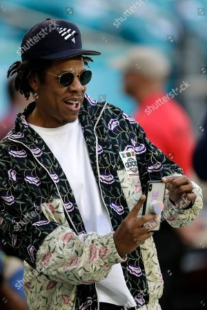 Entertainer Jay-Z makes a photo before the NFL Super Bowl 54 football game between the San Francisco 49ers and the Kansas City Chiefs, in Miami