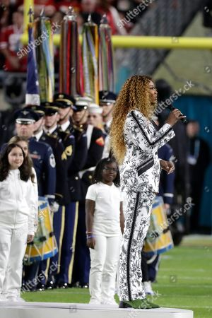 Yolanda Adams performs America the Beautiful before the NFL Super Bowl 54 football game between the San Francisco 49ers and Kansas City Chiefs, in Miami Gardens, Fla