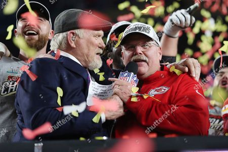 Kansas City Chiefs head coach Andy Reid, right, is interviewed by Terry Bradshaw after the NFL Super Bowl 54 football game between the San Francisco 49ers and Kansas City Chiefs, in Miami Gardens, Fla. The Kansas City Chiefs won 31-20