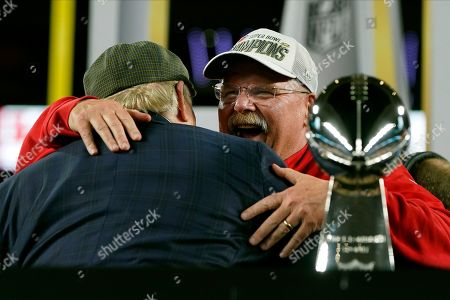 Kansas City Chiefs head coach Andy Reid embraces broadcaster Terry Bradshaw after the Chiefs defeated the San Francisco 49ers in the NFL Super Bowl 54 football game, in Miami Gardens, Fla