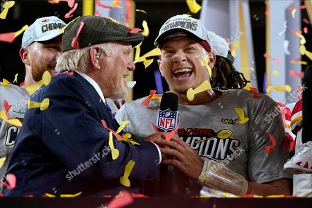 Broadcaster Terry Bradshaw interviews Kansas City Chiefs quarterback Patrick Mahomes after the Chiefs defeated the San Francisco 49ers in the NFL Super Bowl 54 football game, in Miami Gardens, Fla