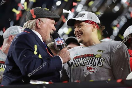 Kansas City Chiefs quarterback Patrick Mahomes (15) is interviewed by Terry Bradshaw on stage after the NFL Super Bowl 54 football game between the San Francisco 49ers and Kansas City Chiefs, in Miami Gardens, Fla. The Kansas City Chiefs won 31-20