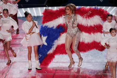 Jennifer Lopez and daughter Emme Maribel Muniz perform during halftime of the NFL Super Bowl 54 football game, in Miami Gardens, Fla