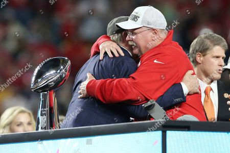 Kansas City Chiefs head coach Andy Reid hugs Terry Bradshaw after a win against the San Francisco 49ers at Super Bowl 54, in Miami Gardens, Fla. The Chiefs won the game 31-20
