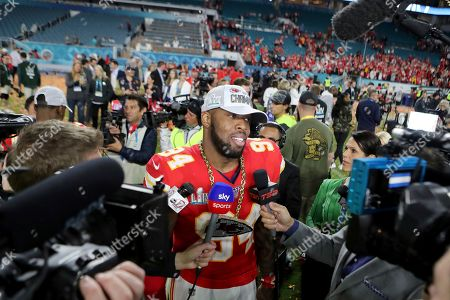 Kansas City Chiefs outside linebacker Terrell Suggs (94) is interviewed after a win against the San Francisco 49ers at Super Bowl 54, in Miami Gardens, Fla. The Chiefs won the game 31-20