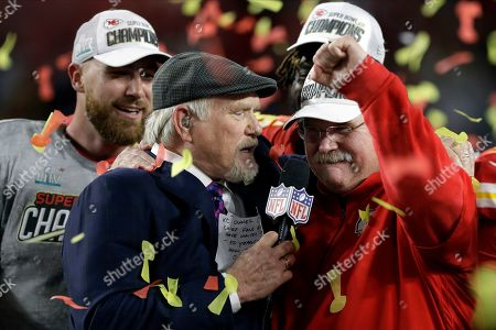 Kansas City Chiefs head coach Andy Reid, right, is interviewed by broadcaster Terry Bradshaw after defeating the San Francisco 49ers in the NFL Super Bowl 54 football game, in Miami Gardens, Fla
