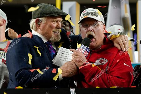 NFL487Kansas City Chiefs head coach Andy Reid speaks alongside broadcaster Terry Bradshaw after the Chiefs defeated the San Francisco 49ers in the NFL Super Bowl 54 football game, in Miami Gardens, Fla