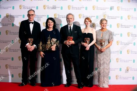 From left, Callum McDougall, Pippa Harris, Sam Mendes, Krysty Wilson-Cairms and Jayne-Anne Tengren, winners of the Outstanding British Film, pose backstage at the Bafta Film Awards, in central London
