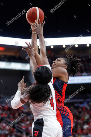 USA Women's National Team forward Nneka Ogwumike (16) shoots over Louisville guard Elizabeth Balogun (4) during the second half of an exhibition basketball game, in Louisville, Ky