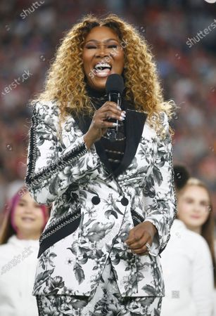 US singer Yolanda Adams sings 'America the Beautiful' before the AFC Champion Kansas City Chiefs play the NFC Champion San Francisco 49ers in the National Football League's Super Bowl LIV at Hard Rock Stadium in Miami Gardens, Florida, USA, 02 February 2020.