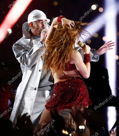Colombian singer Shakira (R) and Puerto Ricans singer Bad Bunny (L) performs during halftime of the National Football League's Super Bowl LIV at Hard Rock Stadium in Miami Gardens, Florida, USA, 02 February 2020.