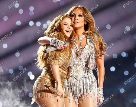 US singer Jennifer Lopez  (R) and Colombian singer Shakira (L) perform during halftime of the National Football League's Super Bowl LIV at Hard Rock Stadium in Miami Gardens, Florida, USA, 02 February 2020.