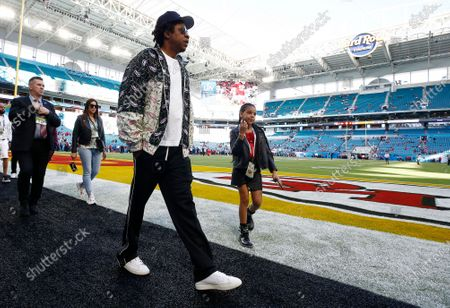 US singer Jay-Z (L) and his daughter Blue Ivy (R) on the field hours before the NFC Champion San Francisco 49ers play the AFC Champion Kansas City Chiefs in the National Football League's Super Bowl LIV at Hard Rock Stadium in Miami Gardens, Florida, USA, 02 February 2020.