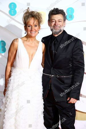 Lorraine Ashbourne, Andy Serkis. Andy Serkis, right and Lorraine Ashbourne pose for photographers upon arrival at the Bafta Film Awards, in central London