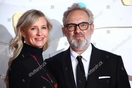 Alison Balsom, Sam Mendes. Director Sam Mendes, right and Alison Balsom pose for photographers upon arrival at the Bafta Film Awards, in central London