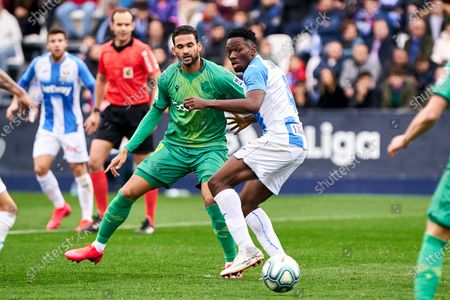 Kenneth Josiah Omeruo of CD Leganes and Willian Jose of Real Sociedad