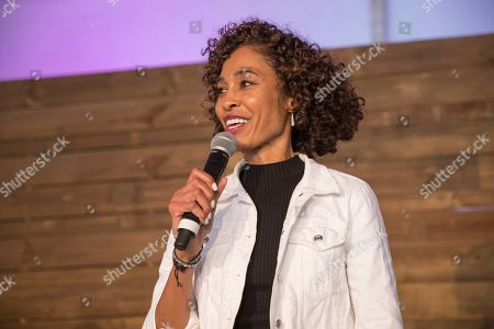 Stock Picture of Sage Steele hosts the part on stage at the Players Tailgate at Super Bowl LIV, in Miami
