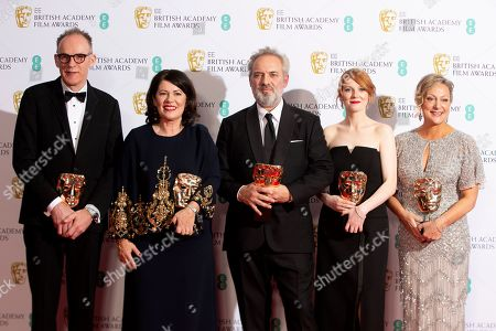 Callum McDougall, Pippa Harris, Sam Mendes, Krysty Wilson-Cairms, Jayne-Anne Tengren. From left, Callum McDougall, Pippa Harris, Sam Mendes, Krysty Wilson-Cairms and Jayne-Anne Tengren, winners of the Outstanding British Film, pose backstage at the Bafta Film Awards, in central London