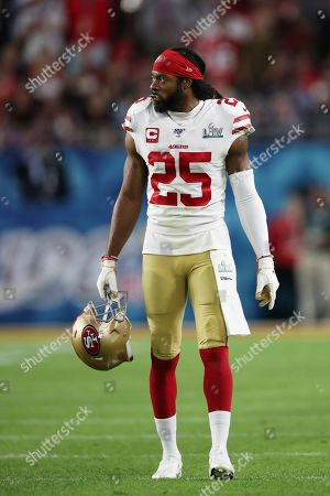 San Francisco 49ers cornerback Richard Sherman (25) stands on the field between plays against the Kansas City Chiefs in Super Bowl 54, in Miami Gardens, Fla. The Chiefs defeated the 49ers 31-20