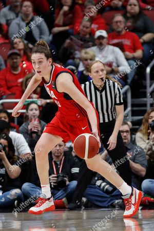 USA Women's National Team forward Breanna Stewart (10) drives the ball up court during an NCAA women's exhibition basketball game against Louisville, in Louisville, Ky
