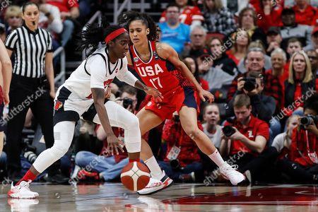 USA Women's National Team guard Skylar Diggins-Smith (17) defends against Louisville guard Jazmine Jones (23) during an NCAA women's exhibition basketball game, in Louisville, Ky