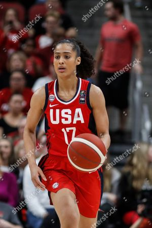 USA Women's National Team guard Skylar Diggins-Smith (17) drives the ball up court during an NCAA women's exhibition basketball game against Louisville, in Louisville, Ky