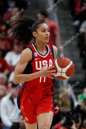 Stock Image of USA Women's National Team guard Skylar Diggins-Smith (17) drives the ball up court during an NCAA women's exhibition basketball game against Louisville, in Louisville, Ky