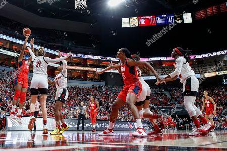 USA Women's National Team forward Nneka Ogwumike (16) shoots over Louisville forward Kylee Shook (21) and guard Elizabeth Balogun (4) during an NCAA women's exhibition basketball game, in Louisville, Ky